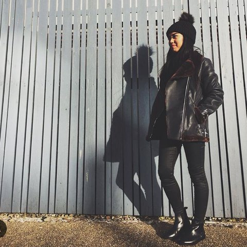 9b53ef2498c Missguided faux fur lined aviator jacket in the colour black - Depop