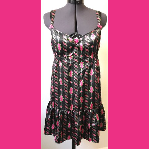 c637a9cf9 Betsey Johnson lingerie in black with pink flowers. This is - Depop