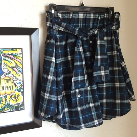 51544989b Green tartan/plaid skater skirt w/ flannel sleeve-like belt - Depop