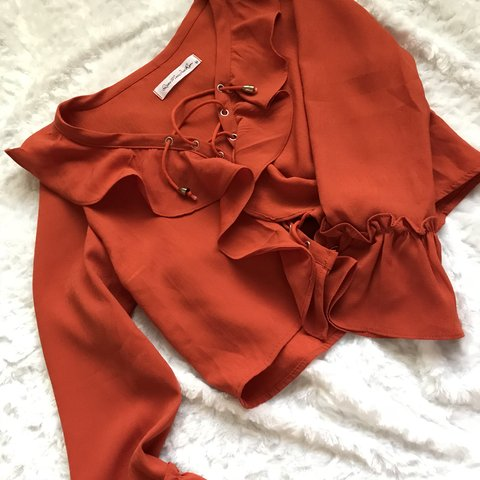 b8b0fe3b803 Blood Orange Ruffle Tie-Up Bell-Sleeve Crop Top by Qiao Mei - Depop
