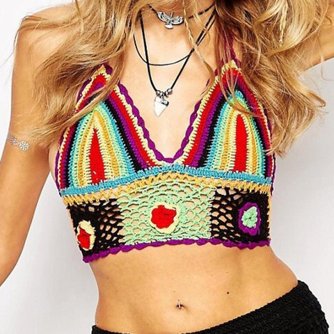 cb7111967ae Rat and Boa multi crochet crop only worn twice perfect size - Depop