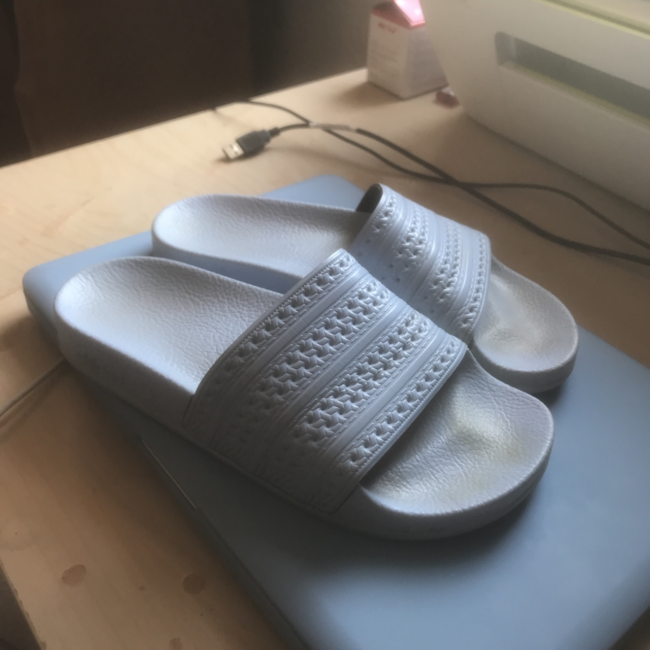 cheap buying cheap new style Baby blue Adidas slides size 4. Similar to Nike... - Depop