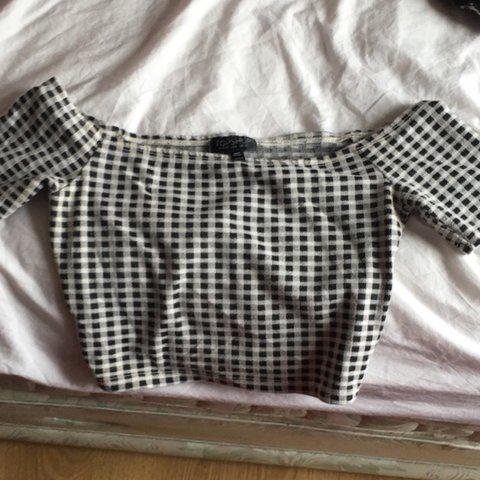 a527221bfabb7 Black and white checkered off the shoulder topshop crop top. - Depop