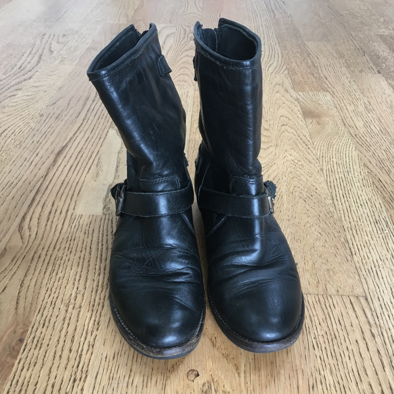 Dune black leather biker boots in size