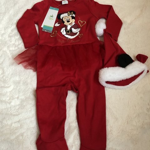 fc9b185a4 Disney baby red and white Minnie Mouse Christmas babygrow - Depop