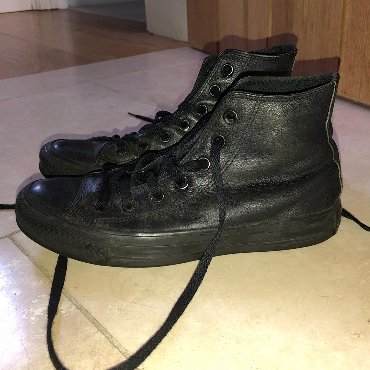 741a2143157530 Black leather converse. Size 5. Good condition but some of - Depop