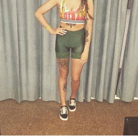 c715fb75 Emerald green lace cycling shorts from American apparel size - Depop
