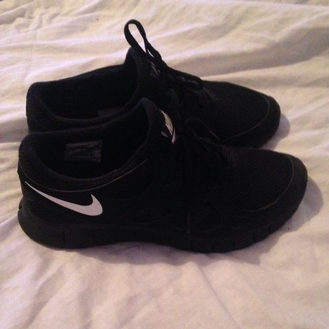 cbf2f9f59874 ... nike free runs 2 size 8 all black with white nike tick. worn depop