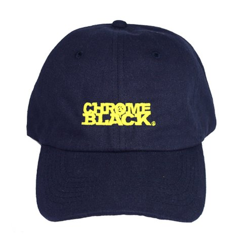 f60d4258f2a09 Chrome   Black custom made 6 panel cap in Navy with Yellow - Depop