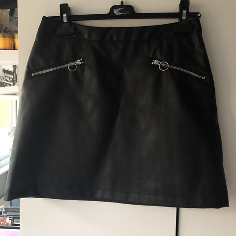 04a736f9d @_pxppy_. last month. United Kingdom. Black faux leather skirt from primark.