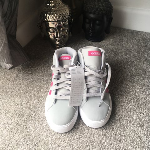e6b3cff8eb96 Brand new adidas kids trainers Size 3 Grey and pink Worn the - Depop