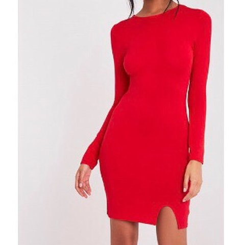 0e8e92fc5741f @shannon_lee. last month. Burghead, UK. PLT Red long sleeve bodycon dress  with small slit ...