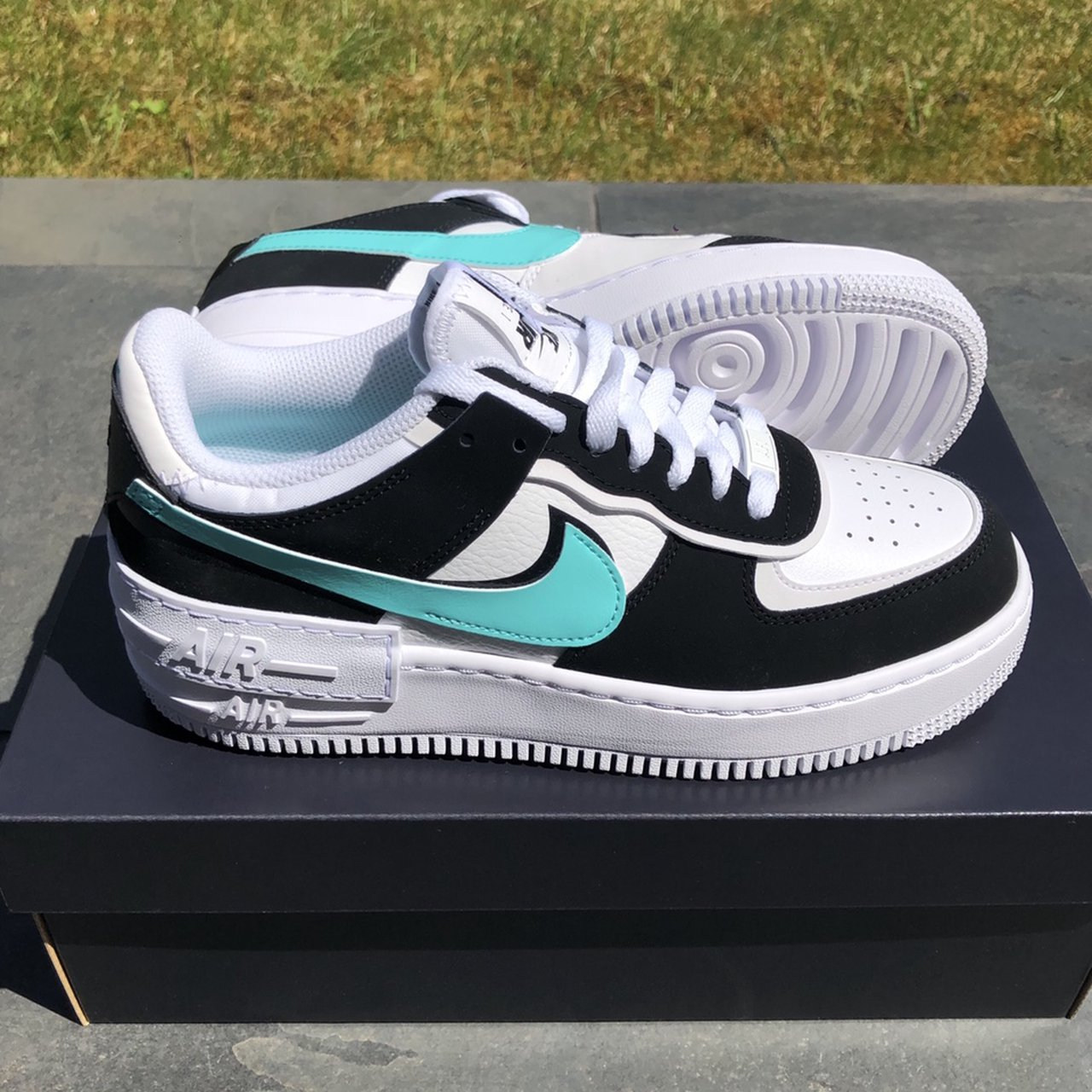 Nike Air Force 1 Shadow Trainers White Aurora Depop Padding at collar for a snug, comfortable fit chunky foam sole with signature air cushioning nike air force 1 shadow trainers
