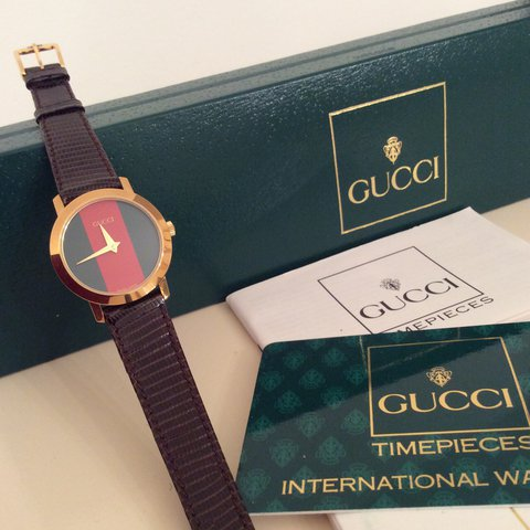 b85ab6f4500  nicolajayne18. 7 months ago. United Kingdom. Authentic Ladies Gucci watch  with brown leather strap💞.