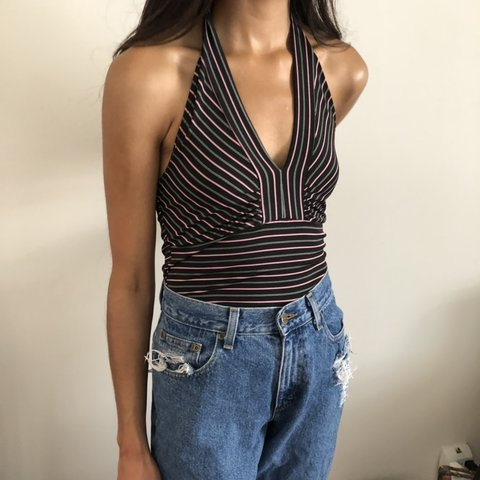 fdf028901e8b4 Black with pink and white stripes halter top. The cutest Y2K - Depop