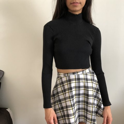 0b8513c96bde1 Black ribbed turtleneck crop top. Long sleeves with cropped - Depop