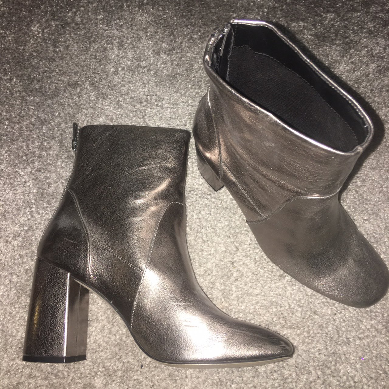 NEW LOOK | flared heel boots | silver