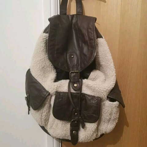 851f6c1026 Ladies backpack from New Look Cream fur with brown new tags - Depop