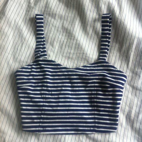 9cc86033b92d9 Blue and White striped crop top  bralette  bralet with zip I - Depop