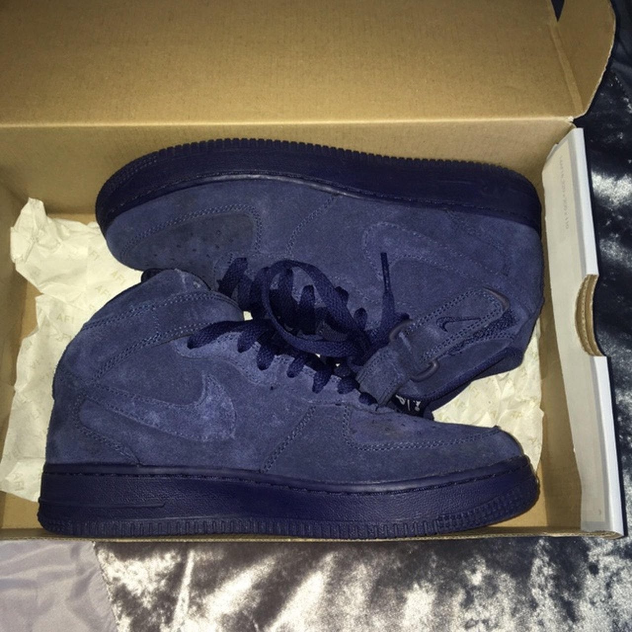 pretty nice 4aa10 471a4  vinaa. 9 months ago. Leeds, United Kingdom. Nike Air Force 1. Navy Blue,  Suede high tops