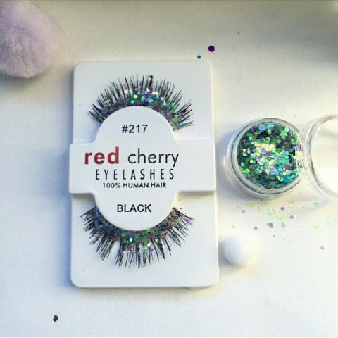 611a1d80442 RED CHERRY cosmetic glitter eyelashes with pot. Can sell by - Depop