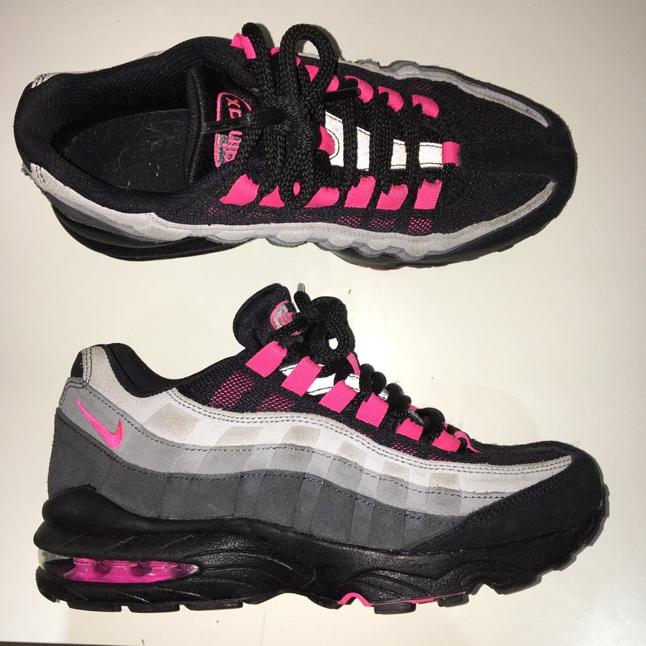meet cc649 31155 Nike Air Max 95 Junior in Pink, Black and Grey - in... - Depop