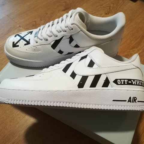 c5406439274346 Air Force 1 custom Off white  nike  offwhite  supreme 👀 - Depop
