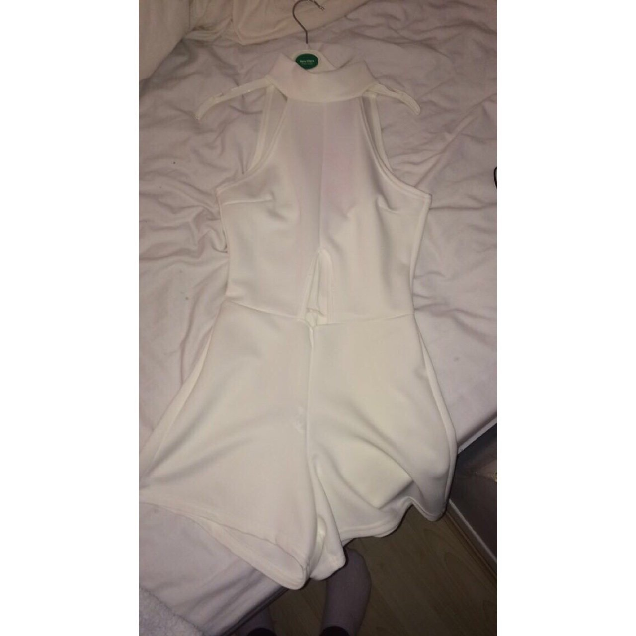 3accff27e3f White High neck playsuit with cut out on belly from boohoo. - Depop