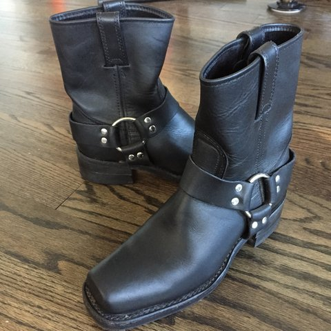 9fef299cd @elmcityexchange. 3 years ago. Branford, CT, USA. Black Frye leather  harness boot, 8R rise in a size 7.