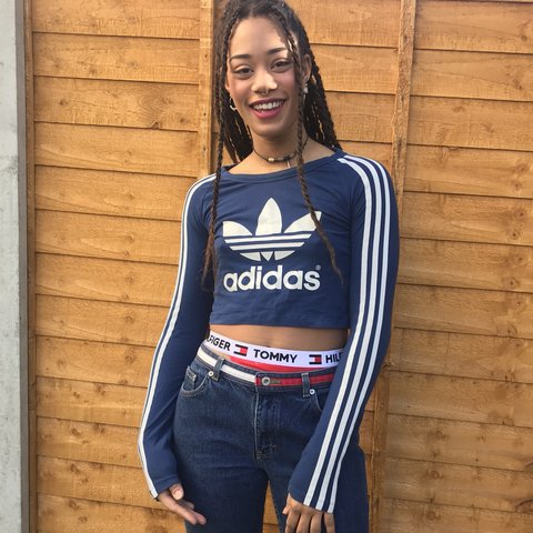 f8d3c6c3c6f38 Long sleeve blue cropped Adidas top with large logo and 3 on - Depop