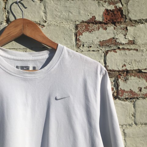 Plain White Nike T Shirt With Silver Embroidered Tick M Depop