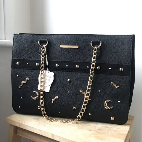 4c38a9862f5 Large black faux leather bag with gold moon and stars and - Depop