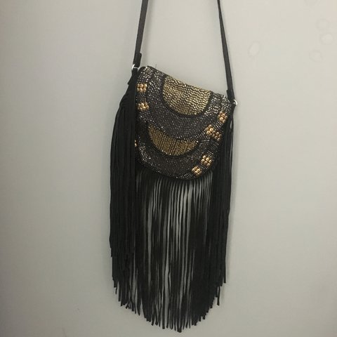 51c0decf57b1 Topshop suede tassel bag with beads and fringed perfect for - Depop