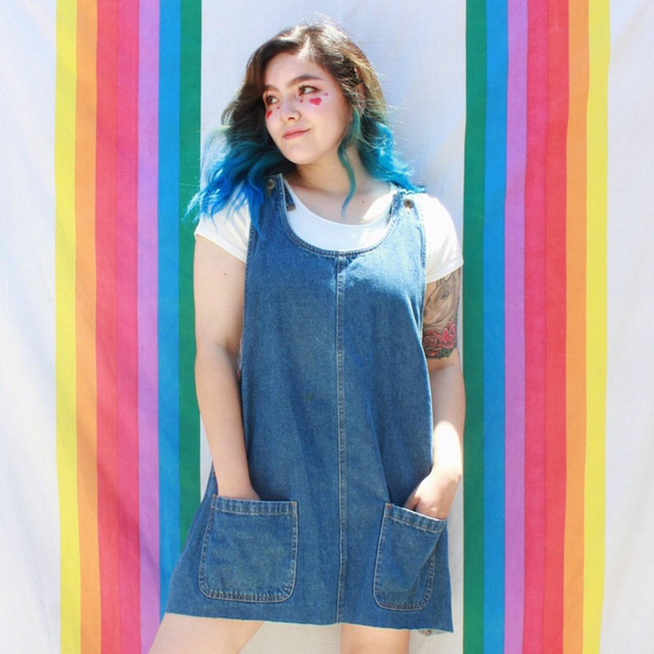 e051b11c7af 🦋 vintage 80s   90s denim overall pinafore dress. so cute a - Depop