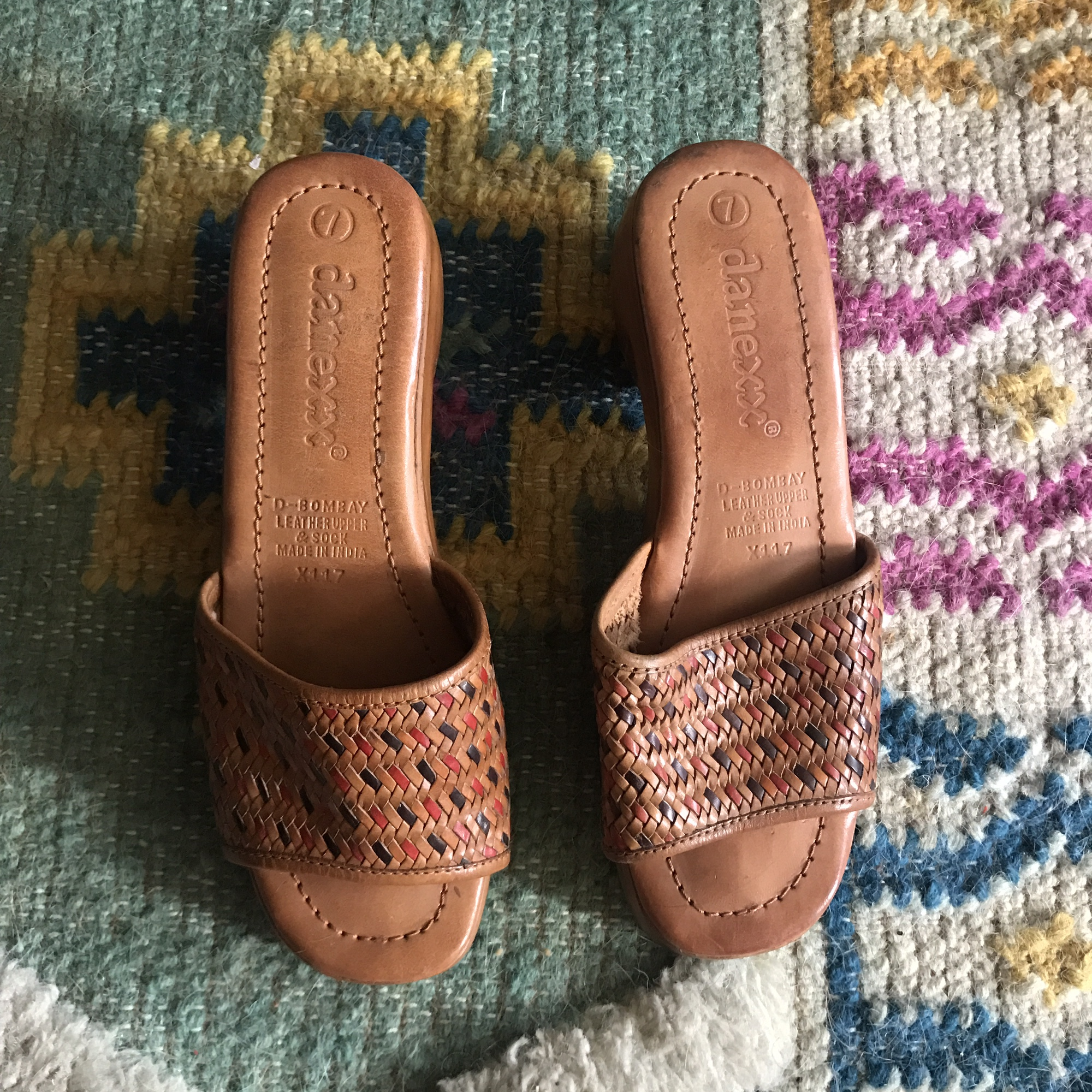 e8651d2263b72 Vintage 70's leather and wood open toe mules. Size... - Depop