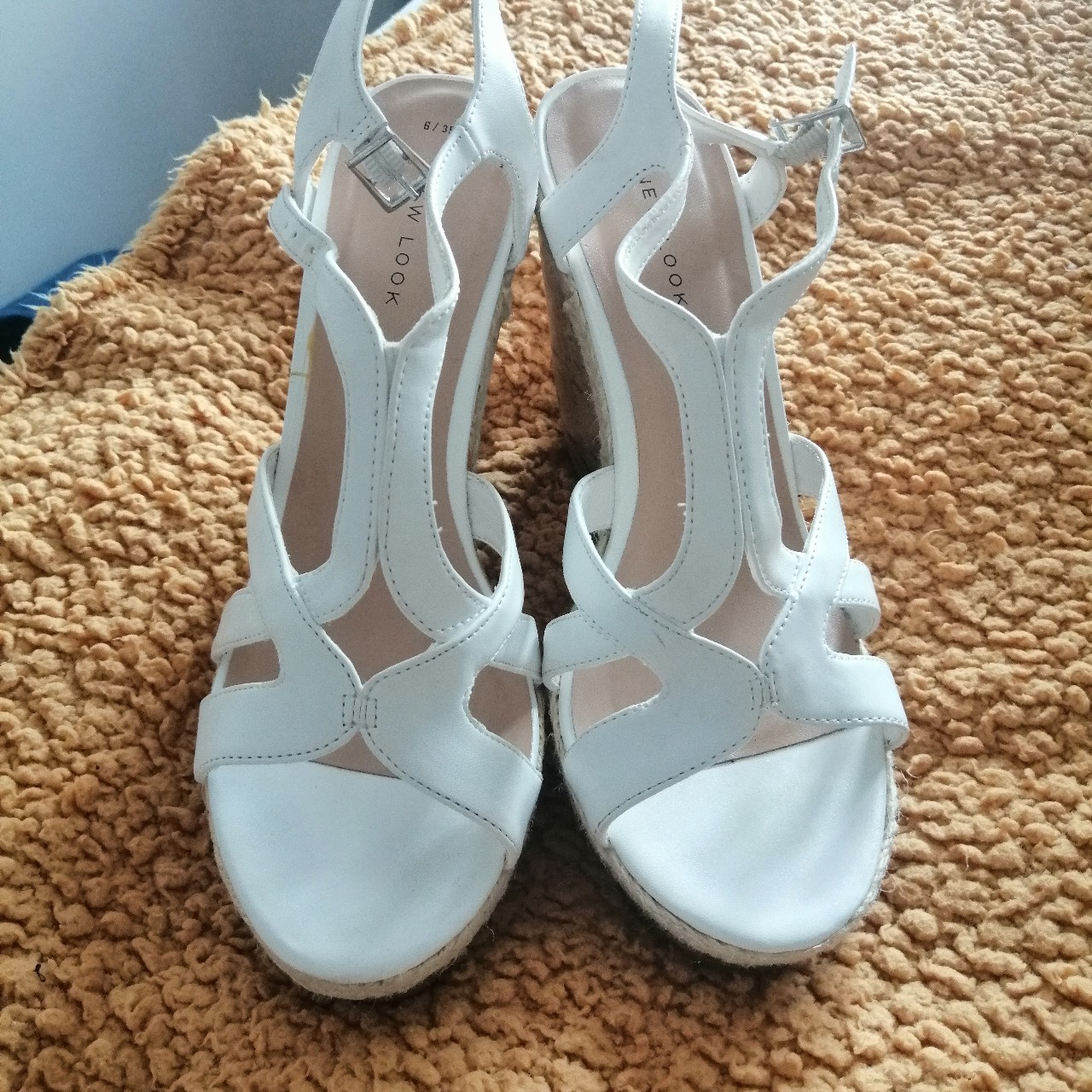 White wedge sandals from New Look. Worn