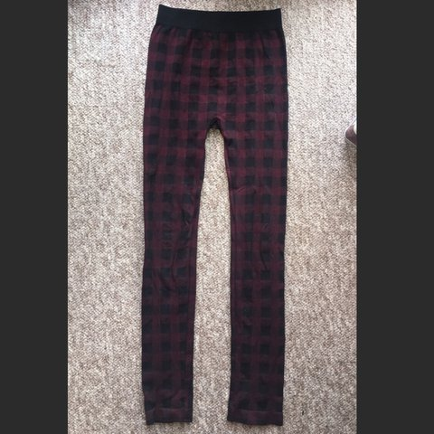ad6392d9cef3c3 Black and red check leggings from Boohoo. Love these but as - Depop