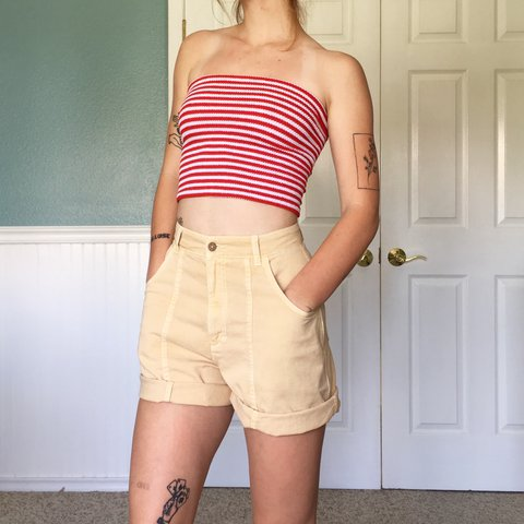 d070cfdd688 another vtg 70s striped stretchy tube top. one size - Depop
