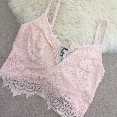 62079717d4fb6 Baby pink lace bralet crop top. Only worn once so so comfy 8 - Depop