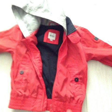 5d0d5a80c203 Hugo Boss Baby... Age 12 months... Red Summer Rain Jacket.. - Depop