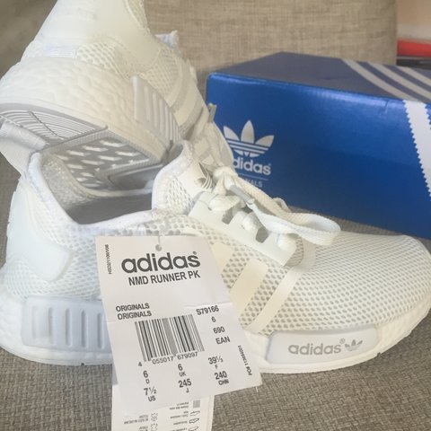 86f4bbe950c24 Adidas NMD Triple White All White Deadstock Size 6 UK with - Depop