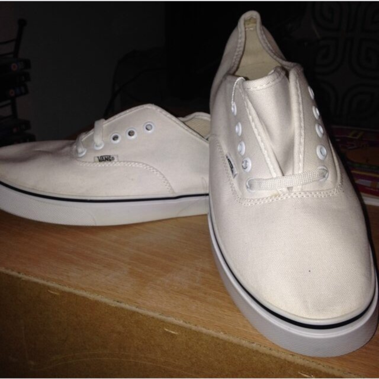 e914e294b Brand new size 8 white vans. Unisex shoes. Come with laces, - Depop