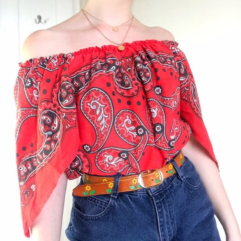 27b2094b984591 Vintage red handkerchief style top. Has an elasticated off a - Depop