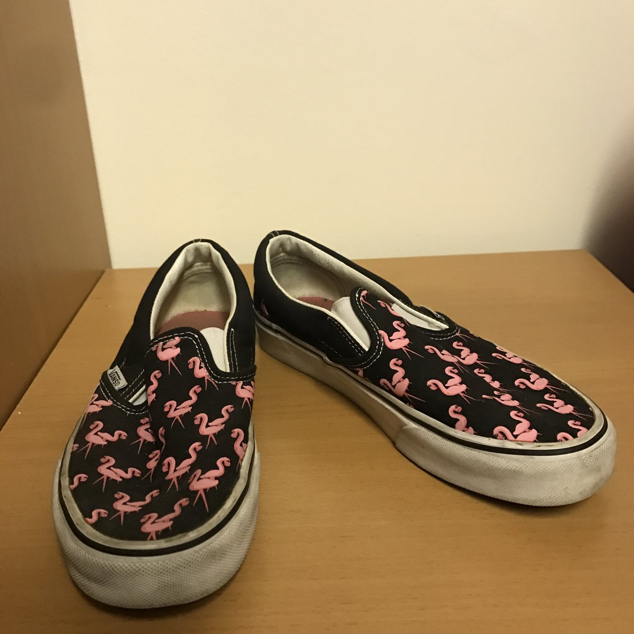 cdb2c1779fa090 Statement vans with a pink flamingo print in size 6. Very of - Depop