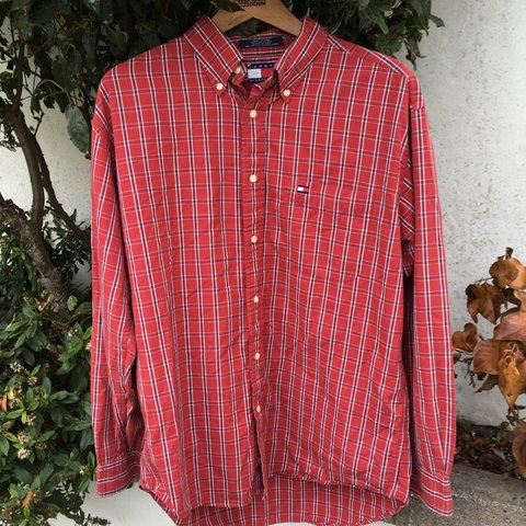08a9e0b4 @dannyp212. 9 months ago. Bristol, United Kingdom. Tommy Hilfiger vintage  label red checked shirt. Excellent condition. Size L/large ...