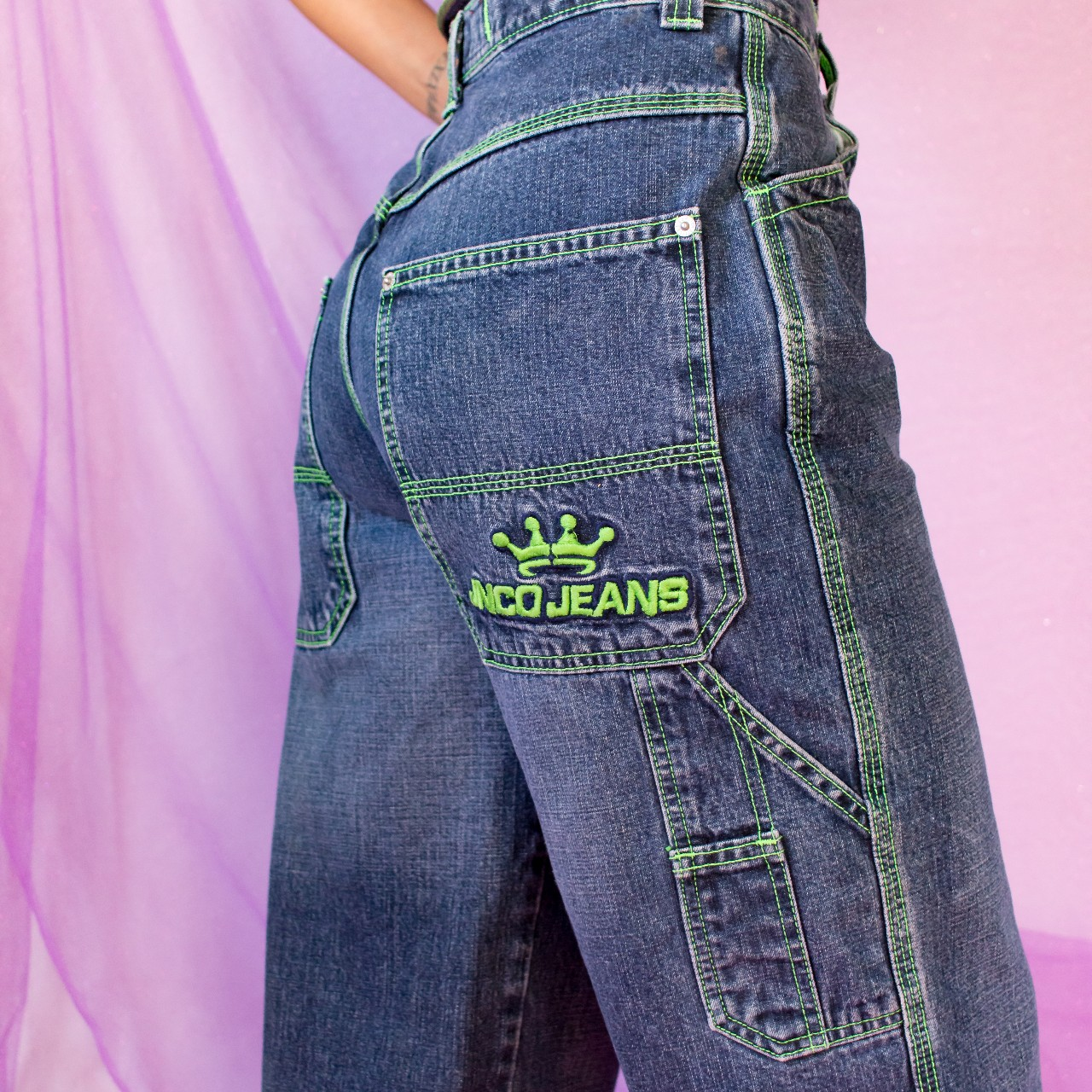 JNCO Infiltrator with Neon Green Wide Leg Jean
