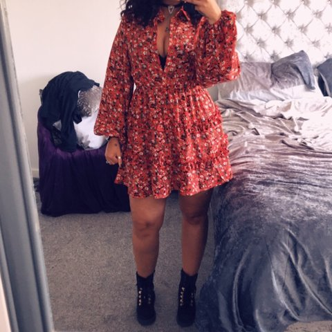 79cbc44fbb @kellyhoops1. 8 days ago. Swansea, United Kingdom. Stunning Red Floral  Printed Frill Skater Shirt Dress.