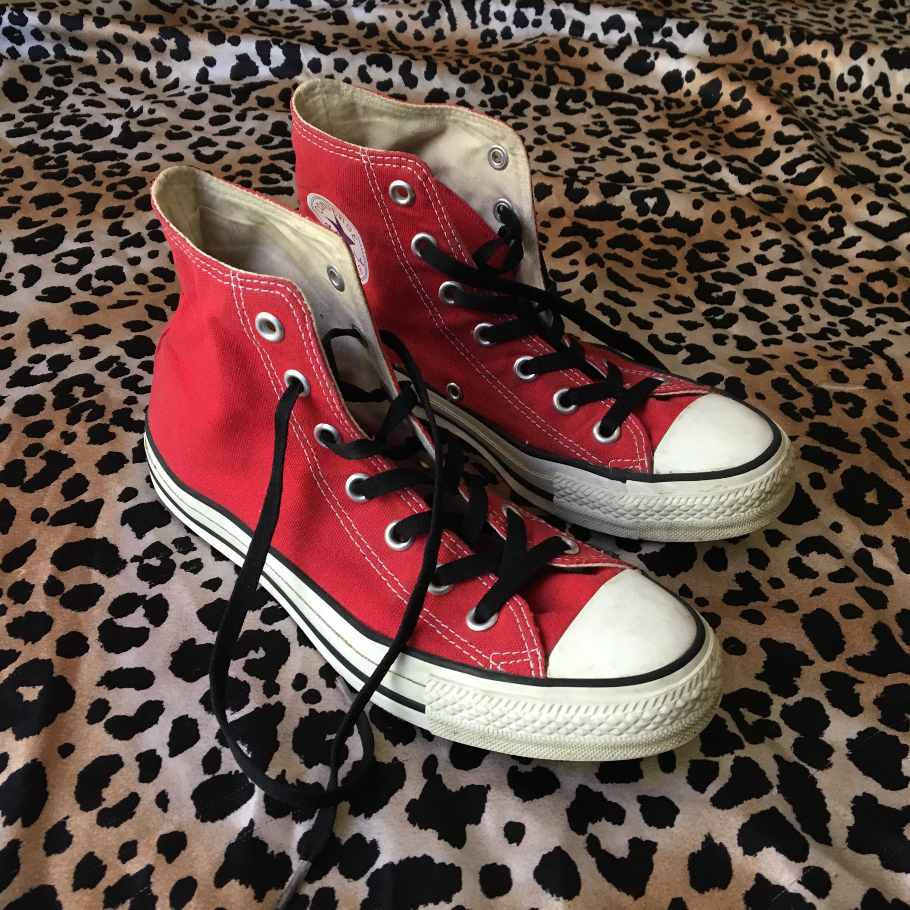 Red Converse with black laces, size 6