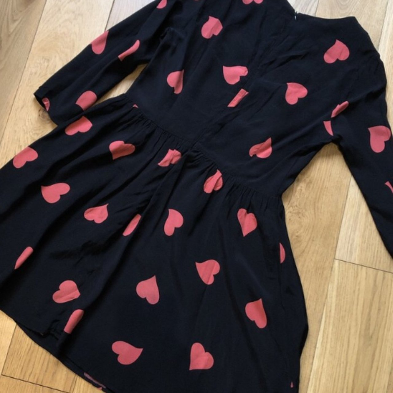 Topshop long sleeve skater dress with pink hearts. Doesn t - Depop 0f7b165fc