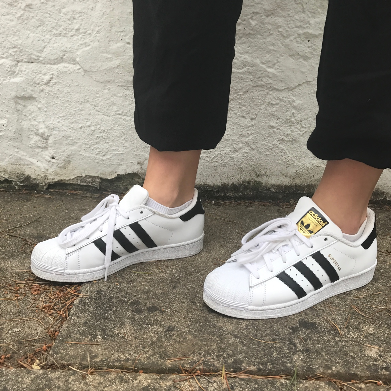 Size 5 12 adidas superstar shoes in black and white Depop